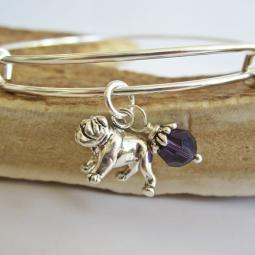 "Bulldog Large Dangle Stackable Bangle Bracelet (2.5""-3"")"