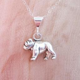 Bulldog Large Pendant Charm and Necklace