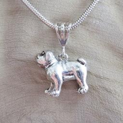 Bulldog Large Pewter Pendant Charm and Necklace