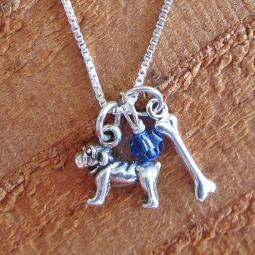 Bulldog Dog Bone Mini Sterling Silver Necklace