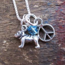 Bulldog Mini Peace Sterling Silver Necklace