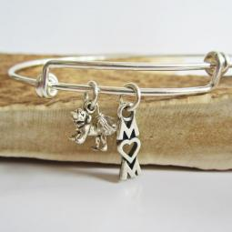 "Bulldog Mom Stackable Bangle Bracelet (2.5""-3"")"