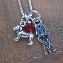 Bulldog Mom Mini Sterling Silver Necklace