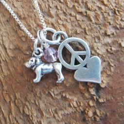 Bulldog Mini Peace Love Sterling Silver Necklace