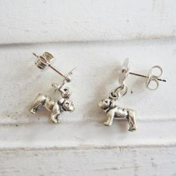 Bulldog Poppy Sterling Silver Earrings