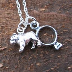 Bulldog Ring Large Sterling Silver Necklace