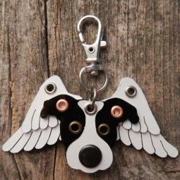 Pit Bull Angel Wings Metal Rivet Tag/Keychain