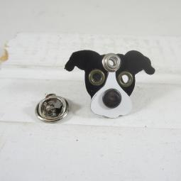 Black & White Pit Bull Metal Rivet Lapel Pin
