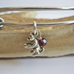 Cat with Ball Mini Dangle Stackable Bangle Bracelet