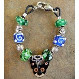 "Chihuahua 7.5"" Silver & Glass Bracelet (one of a kind)"