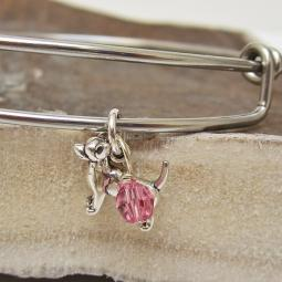 "Chihuahua Mini Dangle Stackable Bangle Bracelet (2.5""-3"")"