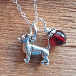 Chihuahua Glass Bead  Sterling Silver Necklace