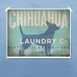 Chihuahua Laundry Company Silhouette 8x10, 11x14 Giclee Print