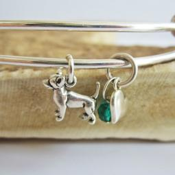 "Chihuahua Mini Heart Stackable Bangle Bracelet (2.5""-3"")"