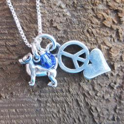 Chihuahua Mini Peace Love Sterling Silver Necklace