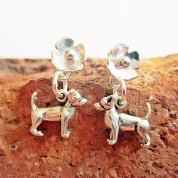 Chihuahua Poppy Sterling Silver Earrings