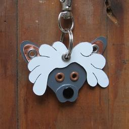 Chinese Crested Metal Rivet Tag/Keychain