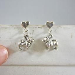 Chow Mini Heart Sterling Silver Earrings