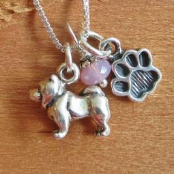 Chow Mini Paw Print Sterling Silver Necklace