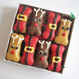 Mini Reindeer and Santa Christmas Dog Bones Box