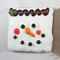 Medium Snowman Square Dog Treat