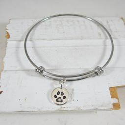 "Circle Paw Print Stackable Bangle Bracelet (2.5""-3"")"