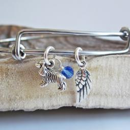 Cocker Spaniel Mini Angel Wing Stackable Bangle Bracelet