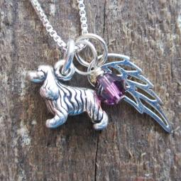 Cocker Spaniel Mini Angel Wing Sterling Silver Necklace