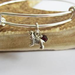 "Cocker Spaniel Mini Dangle Stackable Bangle Bracelet (2.5""-3"")"