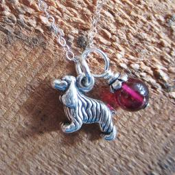 Cocker Spaniel Glass Bead  Sterling Silver Necklace