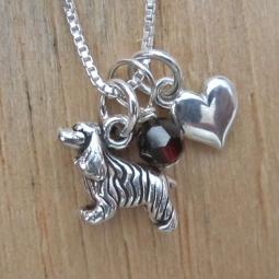 Cocker Spaniel Mini Heart Sterling Silver Necklace