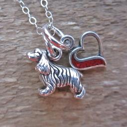 Cocker Spaniel In My Heart Mini Sterling Silver Necklace