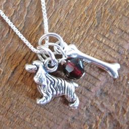 Cocker Spaniel Dog Bone Mini Sterling Silver Necklace