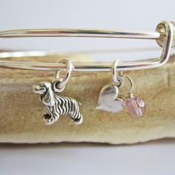 "Cocker Spaniel Mini Heart Stackable Bangle Bracelet (2.5""-3"")"