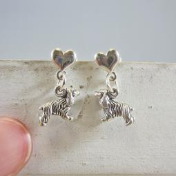 Cocker Spaniel Mini Heart Sterling Silver Earrings