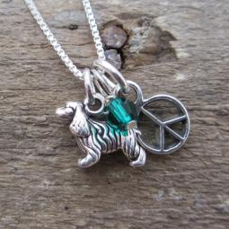 Cocker Spaniel Mini Peace Sterling Silver Necklace