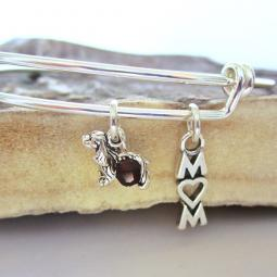 "Cocker Spaniel Mom Stackable Bangle Bracelet (2.5""-3"")"