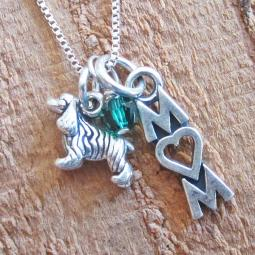 Cocker Spaniel Mom Mini Sterling Silver Necklace