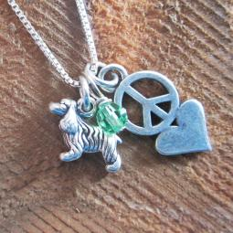 Cocker Spaniel Mini Peace Love Sterling Silver Necklace