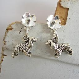 Cocker Spaniel Poppy Sterling Silver Earrings