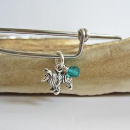 "Collie Mini Dangle Stackable Bangle Bracelet (2.5""-3"")"