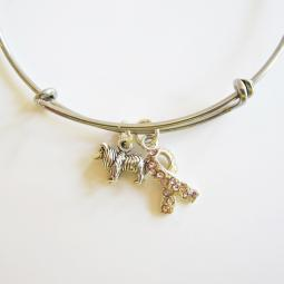 Collie Breast Cancer Awareness Bangle Bracelet