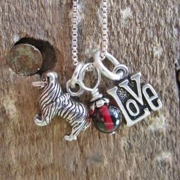 Collie Love Mini Sterling Silver Necklace