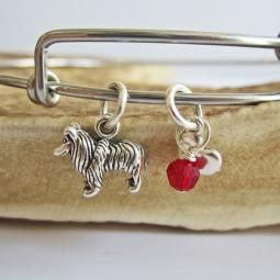 "Collie Mini Heart Stackable Bangle Bracelet (2.5""-3"")"