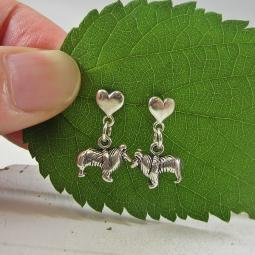 Collie Mini Heart Sterling Silver Earrings