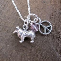 Collie Mini Peace Sterling Silver Necklace