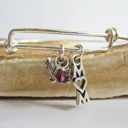 "Collie Mom Stackable Bangle Bracelet (2.5""-3"")"
