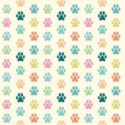 Colorful Paw Prints Pleated Face Mask
