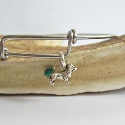 "Corgi Mini Dangle Stackable Bangle Bracelet (2.5""-3"")"