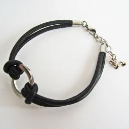 Corgi End Charm Dangle Sterling Circle Black Leather Bracelet